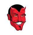 Red devil Red head Merry demon with horns Satan vector image