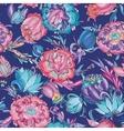 Blue Detailed Floral Pattern vector image