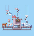 milk manufacturing stage processing on conveyor vector image