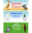 set of animals from the world vector image