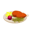 Turkey Ham with Vegetables and Apples on a Dish vector image