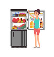 woman thinking snacking at fridge with unhealthy vector image
