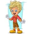 Cartoon cute little blond boy with good eyes vector image