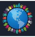 Diversity human hand America world map vector image