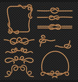 rope border and frames with knots marine vector image
