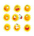 cute cartoon sun various emoticons emotional face vector image vector image