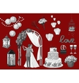 Set of hand drawn wedding elements - string of vector image