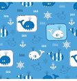 Seamless pattern with whales 3 vector image