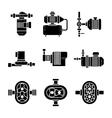Water pump black icons sets vector image vector image