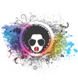 funky face with floral and grunge vector image vector image