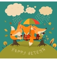 Cute foxes sitting under an umbrella on a log vector image