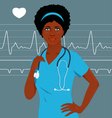 Doctor or nurse with a heart monitor vector image