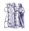 Jesus christ son of god knocking at the door vector image