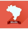 Flat icon with long shadow Brazil map vector image