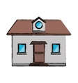 drawing front view home window loft vector image