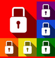 lock sign set of icons with vector image
