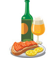 beer with salmon sandwich vector image