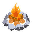 firewood surrounded by stones vector image