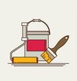 painter instrument for painting flat brush roller vector image