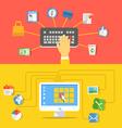 Digital media industry Flat design concept vector image