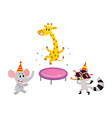 flat animals party set isolated vector image