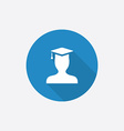 graduate student Flat Blue Simple Icon with long vector image