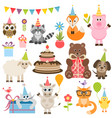 set of different animals on birthday party vector image