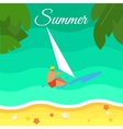Seascape with Surfer Summer Banner vector image
