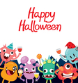 Monsters Cartoon Character In Halloween Party vector image