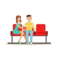 Couple Sitting In Cinema Room Wathing A Movie vector image