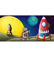Two spaceships and a robot in the outer space vector image