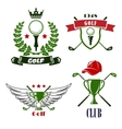 Golf club or tournament heraldic emblems vector image