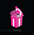 diamond in gift box pink on black vector image