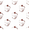 Tile pattern with brown cherry cupcakes vector image