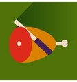 flat icon with long shadow ham and knife vector image