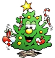 Hand-drawn of an Happy Christmas Tree vector image