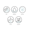 Ayurveda elenemts icons set symbols vector image