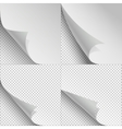 Blank sheets of paper with page curl and shadows vector image