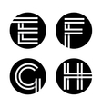 Capital letters E F G H In a black circle vector image