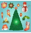 Hand Drawn Christmas Decorations Set vector image