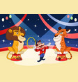 handler with lion and tiger at circus 2 vector image