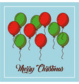 merry christmas green and red balloons decoration vector image