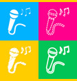 microphone sign with music notes four styles of vector image