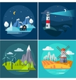 Mountains and Water Landscape Set vector image