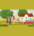 family horizontal banner garden cartoon style vector image