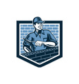 Brick Layer Mason Masonry Worker Retro vector image