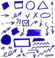 Set of blue abstract hand-painted marker vector image