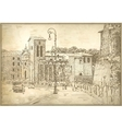 drawing of Rome Italy famous cityscape on old vector image vector image