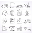 Garbage cleaning and rubbish icons vector image vector image