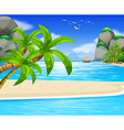 Ocean view with sail floating on water vector image